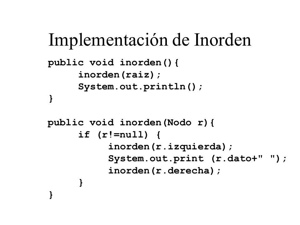 Implementación de Inorden public void inorden(){ inorden(raiz); System.out.println(); } public void inorden(Nodo r){ if (r!=null) { inorden(r.izquierd