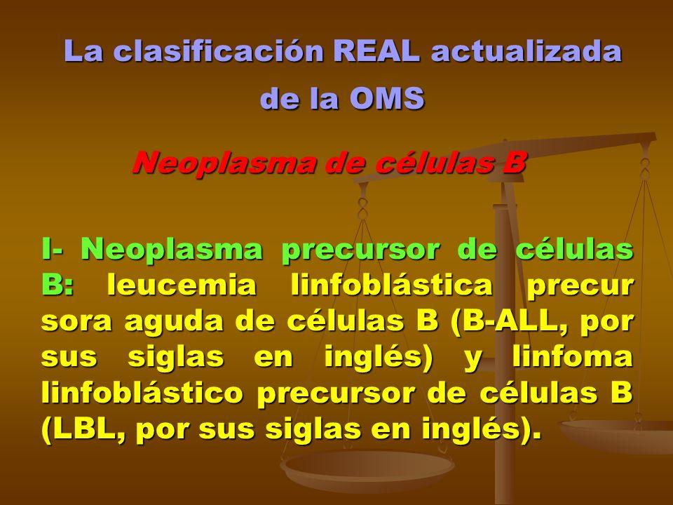 La clasificación REAL actualizada de la OMS Neoplasma de células B Neoplasma de células B I- Neoplasma precursor de células B: leucemia linfoblástica
