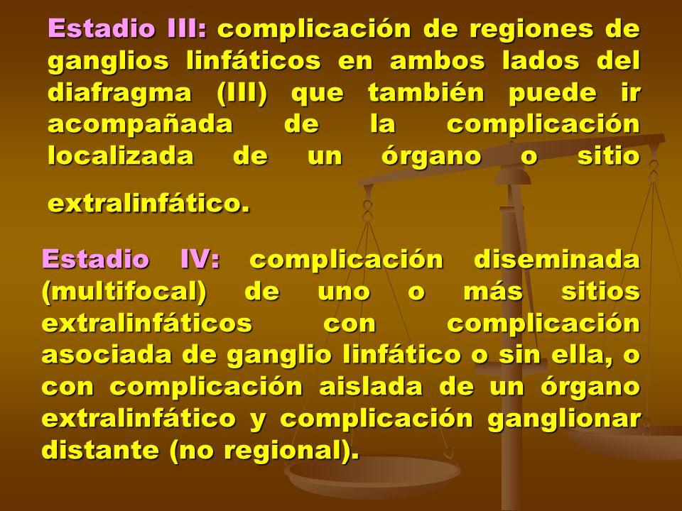 Estadio III: complicación de regiones de ganglios linfáticos en ambos lados del diafragma (III) que también puede ir acompañada de la complicación loc
