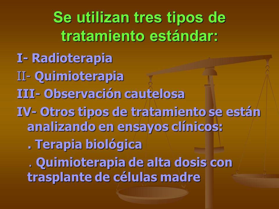 Se utilizan tres tipos de tratamiento estándar: I- Radioterapia II- Quimioterapia III- Observación cautelosa IV- Otros tipos de tratamiento se están a