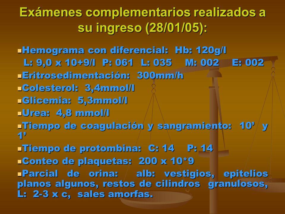Exámenes complementarios realizados a su ingreso (28/01/05): Hemograma con diferencial: Hb: 120g/l Hemograma con diferencial: Hb: 120g/l L: 9,0 x 10+9