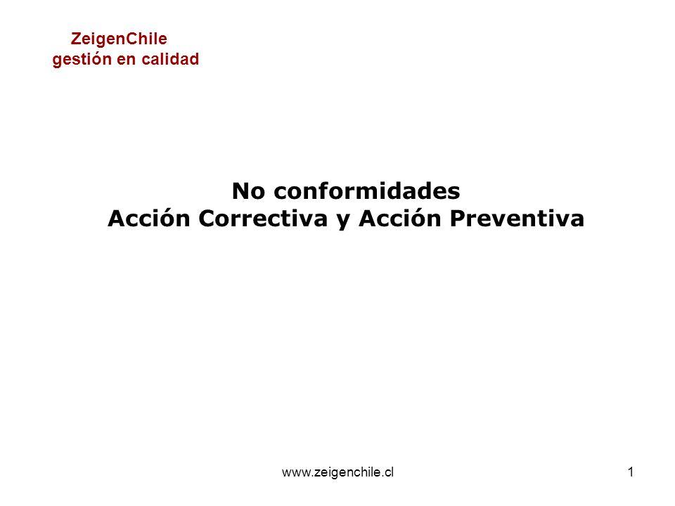 www.zeigenchile.cl1 No conformidades Acción Correctiva y Acción Preventiva ZeigenChile gestión en calidad