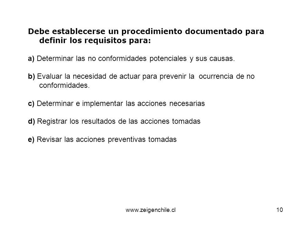 www.zeigenchile.cl10 Debe establecerse un procedimiento documentado para definir los requisitos para: a) Determinar las no conformidades potenciales y