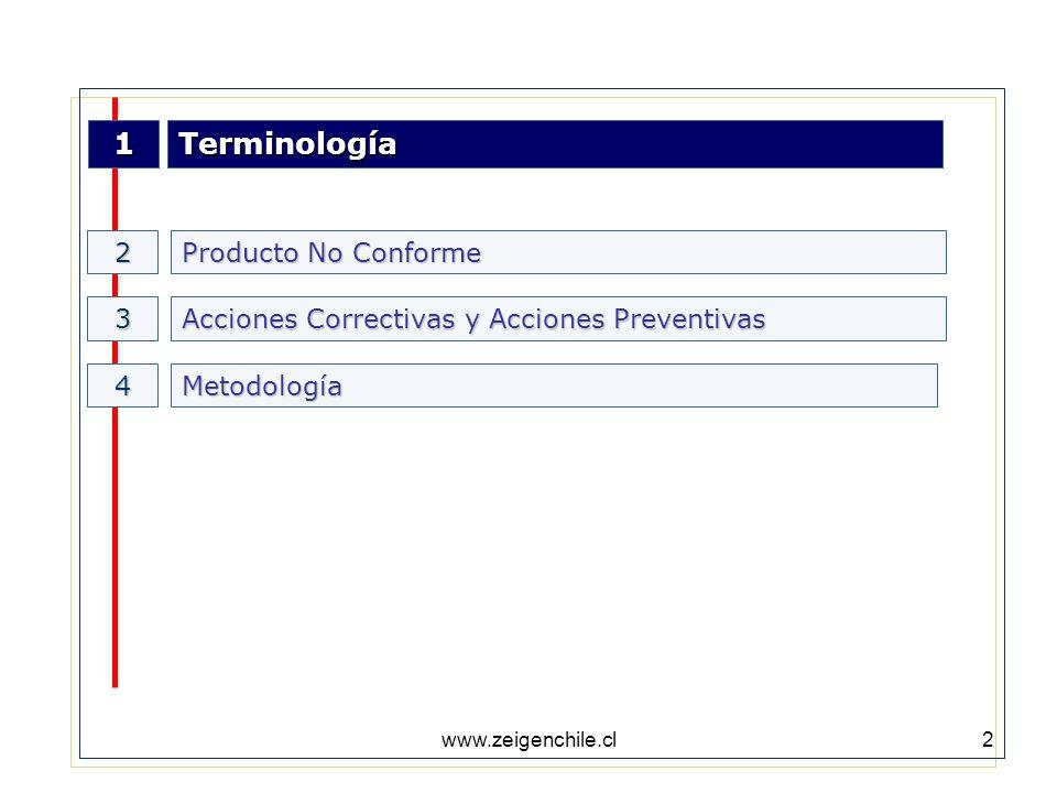 www.zeigenchile.cl2 1Terminología Producto No Conforme 2 3 Metodología4 Acciones Correctivas y Acciones Preventivas