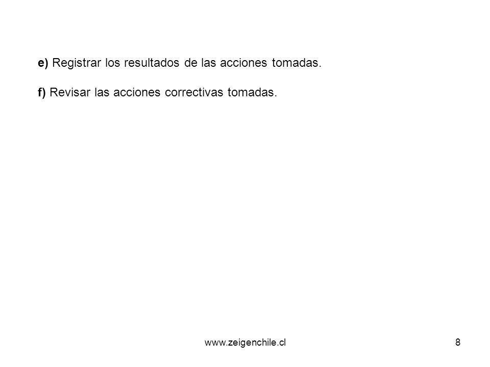 www.zeigenchile.cl8 e) Registrar los resultados de las acciones tomadas. f) Revisar las acciones correctivas tomadas.