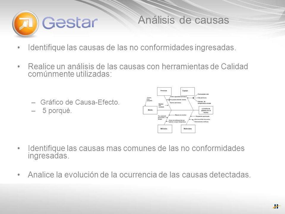 Análisis de causas Identifique las causas de las no conformidades ingresadas. Realice un análisis de las causas con herramientas de Calidad comúnmente