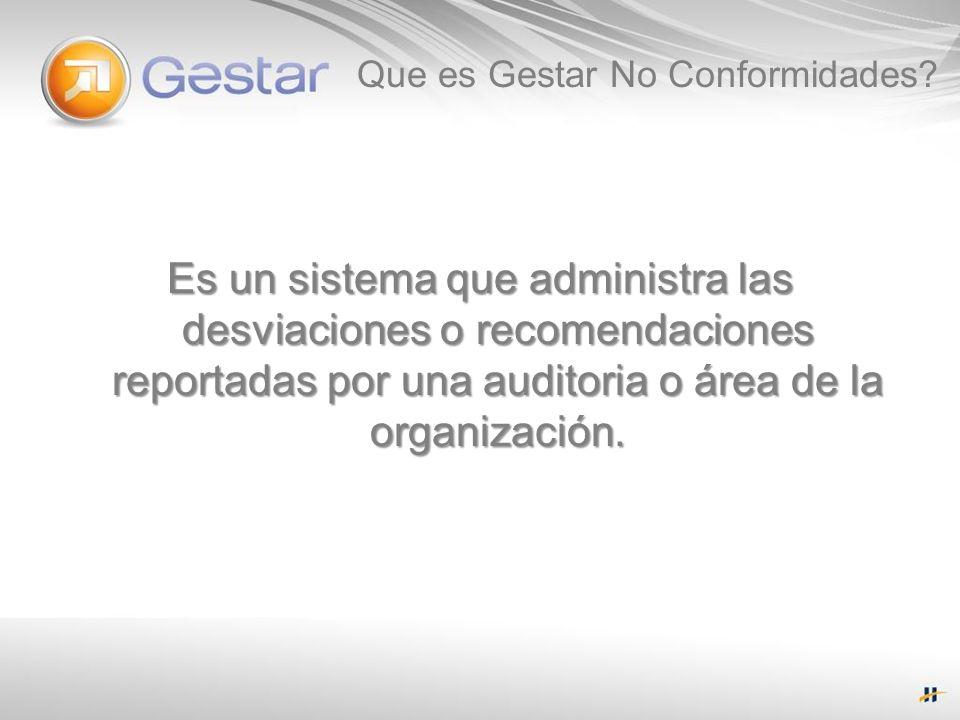 Que es Gestar No Conformidades? Es un sistema que administra las desviaciones o recomendaciones reportadas por una auditoria o área de la organización