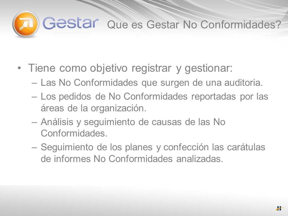 Que es Gestar No Conformidades? Tiene como objetivo registrar y gestionar: –Las No Conformidades que surgen de una auditoria. –Los pedidos de No Confo