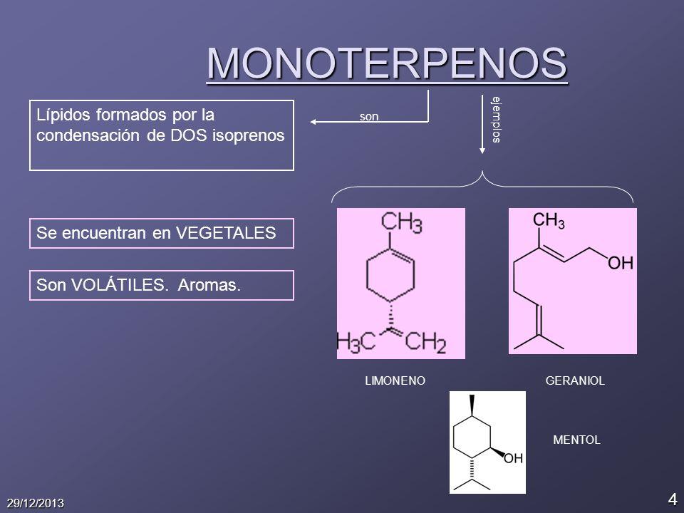 4 29/12/2013 MONOTERPENOS Lípidos formados por la condensación de DOS isoprenos son ejemplos LIMONENOGERANIOL Se encuentran en VEGETALES Son VOLÁTILES