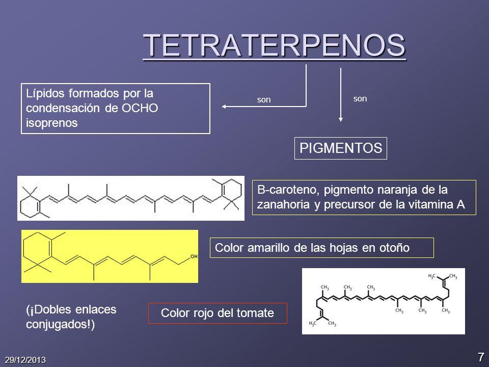 7 29/12/2013 TETRATERPENOS Lípidos formados por la condensación de OCHO isoprenos son PIGMENTOS B-caroteno, pigmento naranja de la zanahoria y precurs