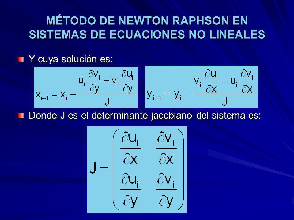 MÉTODO DE NEWTON RAPHSON EN SISTEMAS DE ECUACIONES NO LINEALES Y cuya solución es: Donde J es el determinante jacobiano del sistema es: