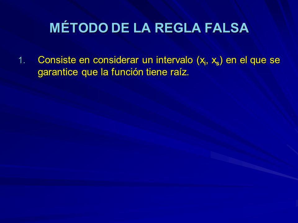MÉTODO DE LA REGLA FALSA 1. Consiste en considerar un intervalo (x i, x s ) en el que se garantice que la función tiene raíz.