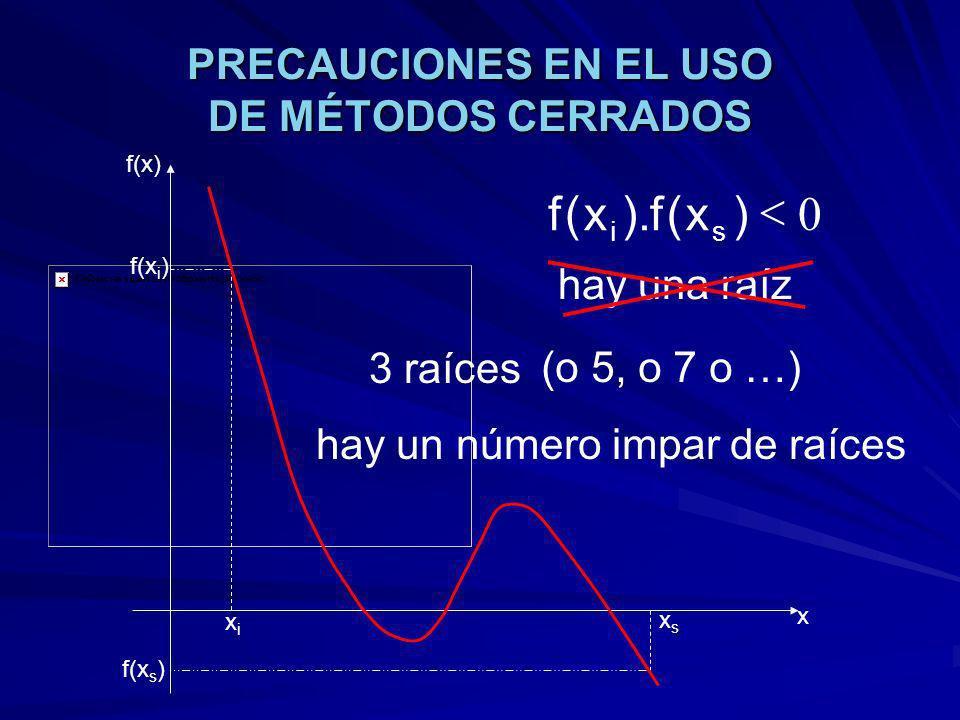 PRECAUCIONES EN EL USO DE MÉTODOS CERRADOS xixi xsxs f(x) x f(x i ) f(x s ) 0 )x(f).x(f si 3 raíces (o 5, o 7 o …) hay una raíz hay un número impar de raíces