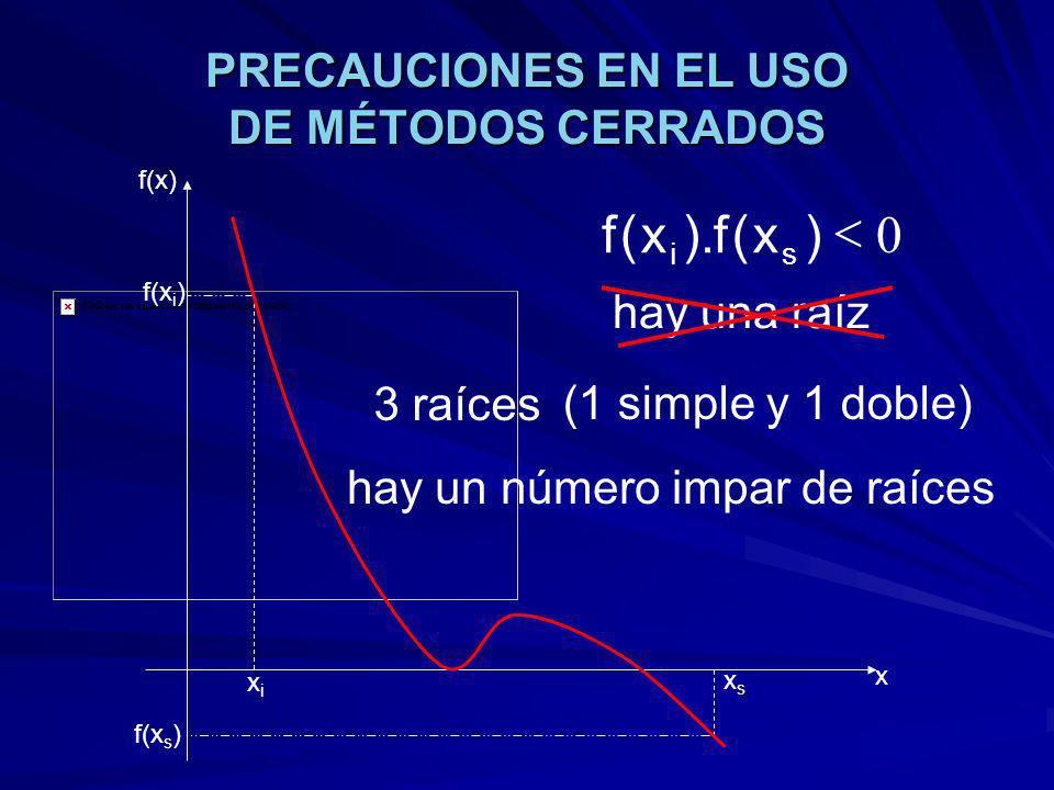 PRECAUCIONES EN EL USO DE MÉTODOS CERRADOS xixi xsxs f(x) x f(x i ) f(x s ) 0 )x(f).x(f si 3 raíces (1 simple y 1 doble) hay una raíz hay un número impar de raíces