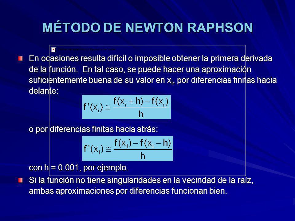 MÉTODO DE NEWTON RAPHSON En ocasiones resulta difícil o imposible obtener la primera derivada de la función. En tal caso, se puede hacer una aproximac