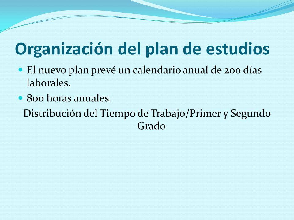 Organización del plan de estudios El nuevo plan prevé un calendario anual de 200 días laborales. 800 horas anuales. Distribución del Tiempo de Trabajo