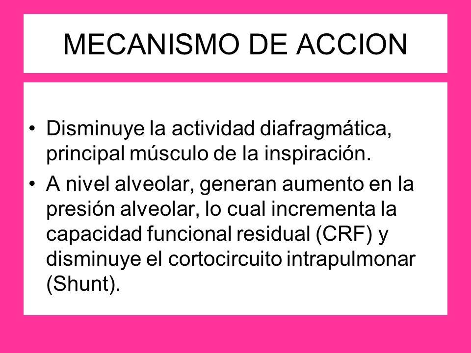 MECANISMO DE ACCION Disminuye la actividad diafragmática, principal músculo de la inspiración. A nivel alveolar, generan aumento en la presión alveola