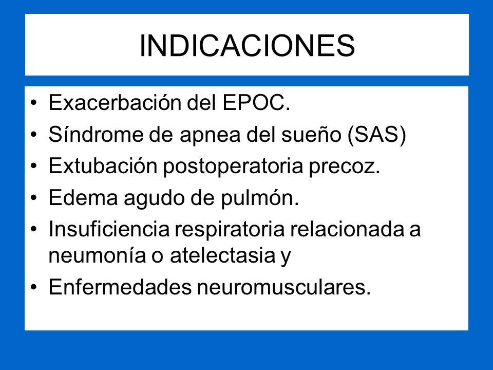 INDICACIONES Exacerbación del EPOC. Síndrome de apnea del sueño (SAS) Extubación postoperatoria precoz. Edema agudo de pulmón. Insuficiencia respirato