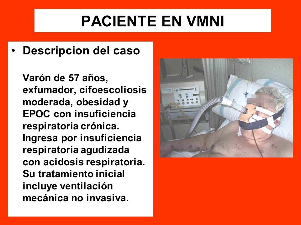 PACIENTE EN VMNI Descripcion del caso Varón de 57 años, exfumador, cifoescoliosis moderada, obesidad y EPOC con insuficiencia respiratoria crónica. In