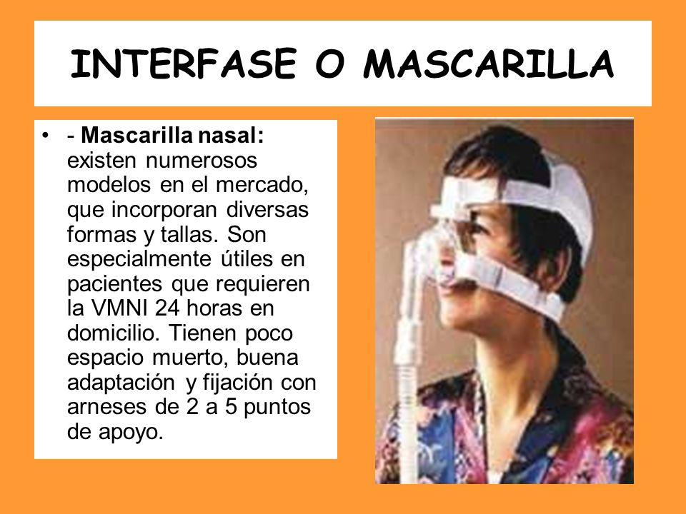 INTERFASE O MASCARILLA - Mascarilla nasal: existen numerosos modelos en el mercado, que incorporan diversas formas y tallas. Son especialmente útiles