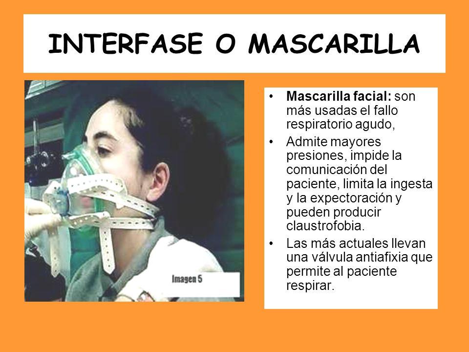 INTERFASE O MASCARILLA Mascarilla facial: son más usadas el fallo respiratorio agudo, Admite mayores presiones, impide la comunicación del paciente, l