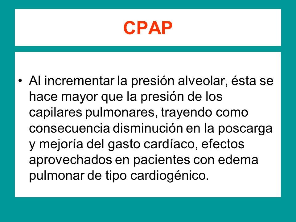 CPAP Al incrementar la presión alveolar, ésta se hace mayor que la presión de los capilares pulmonares, trayendo como consecuencia disminución en la p