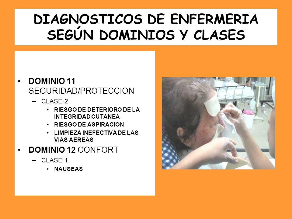 DIAGNOSTICOS DE ENFERMERIA SEGÚN DOMINIOS Y CLASES DOMINIO 11 SEGURIDAD/PROTECCION –CLASE 2 RIESGO DE DETERIORO DE LA INTEGRIDAD CUTANEA RIESGO DE ASP