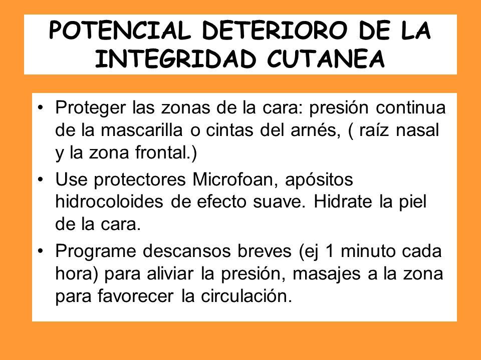 POTENCIAL DETERIORO DE LA INTEGRIDAD CUTANEA Proteger las zonas de la cara: presión continua de la mascarilla o cintas del arnés, ( raíz nasal y la zo