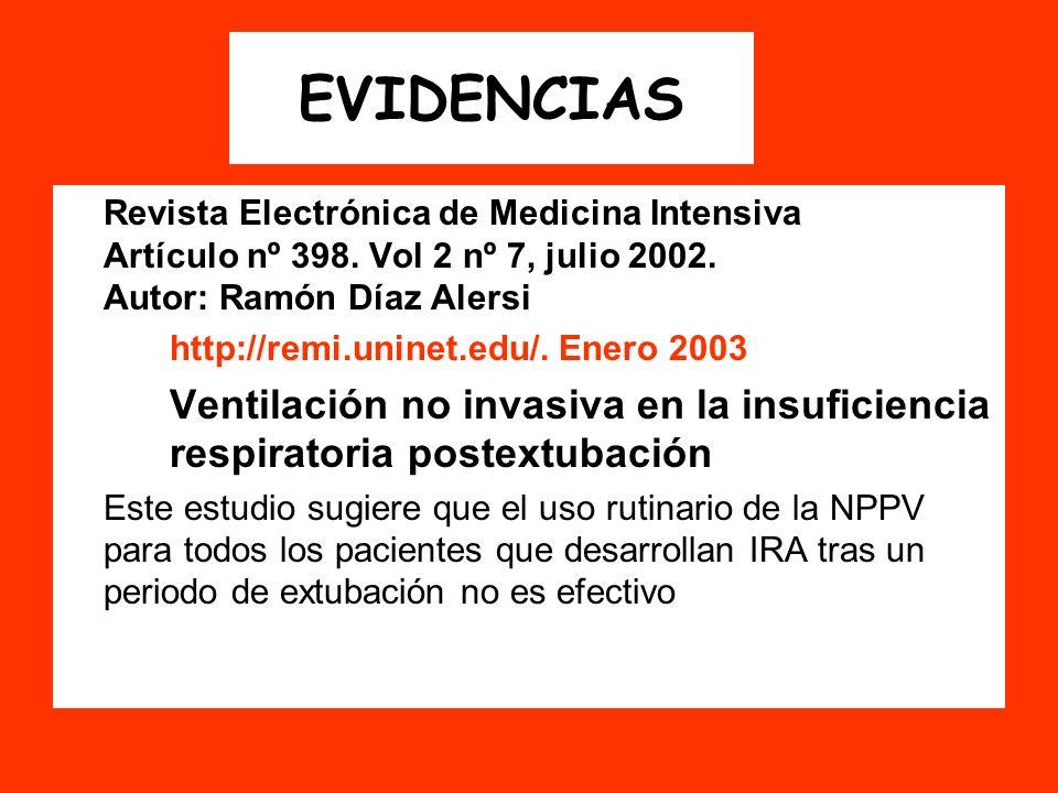 EVIDENCIAS Revista Electrónica de Medicina Intensiva Artículo nº 398. Vol 2 nº 7, julio 2002. Autor: Ramón Díaz Alersi http://remi.uninet.edu/. Enero