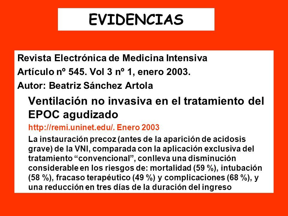 EVIDENCIAS Revista Electrónica de Medicina Intensiva Artículo nº 545. Vol 3 nº 1, enero 2003. Autor: Beatriz Sánchez Artola Ventilación no invasiva en
