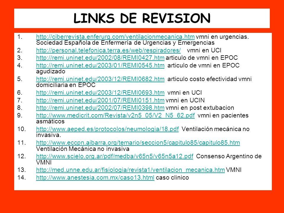 LINKS DE REVISION 1.http://ciberrevista.enferurg.com/ventilacionmecanica.htm vmni en urgencias. Sociedad Española de Enfermería de Urgencias y Emergen