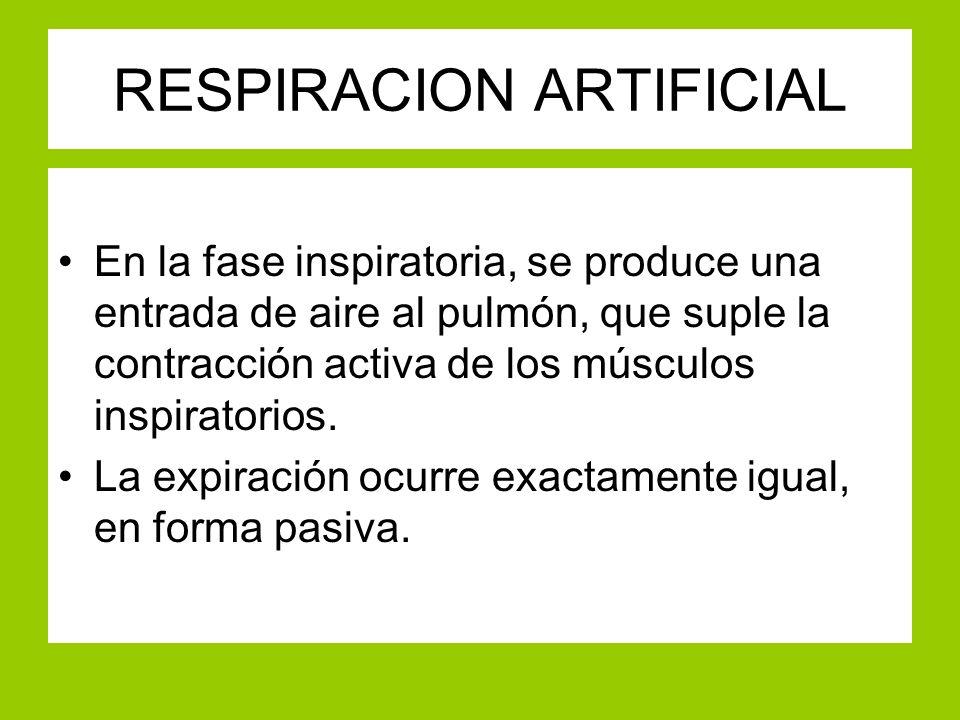 RESPIRACION ARTIFICIAL En la fase inspiratoria, se produce una entrada de aire al pulmón, que suple la contracción activa de los músculos inspiratorio