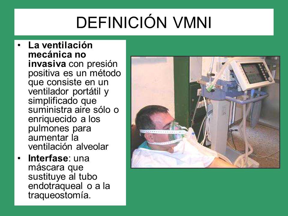 DEFINICIÓN VMNI La ventilación mecánica no invasiva con presión positiva es un método que consiste en un ventilador portátil y simplificado que sumini