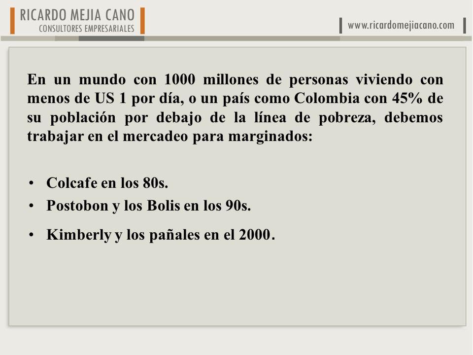 En un mundo con 1000 millones de personas viviendo con menos de US 1 por día, o un país como Colombia con 45% de su población por debajo de la línea de pobreza, debemos trabajar en el mercadeo para marginados: Colcafe en los 80s.