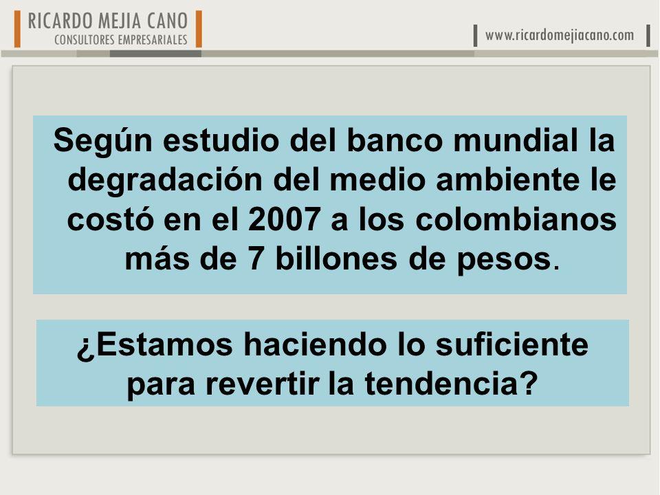 Según estudio del banco mundial la degradación del medio ambiente le costó en el 2007 a los colombianos más de 7 billones de pesos.