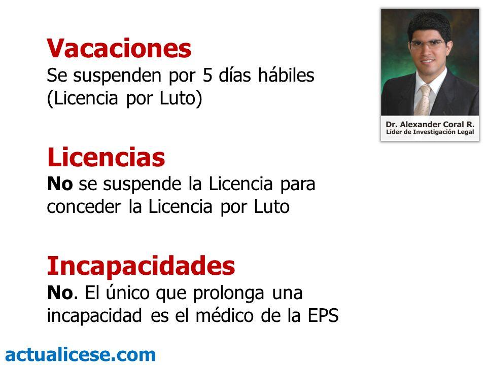 actualicese.com Vacaciones Se suspenden por 5 días hábiles (Licencia por Luto) Licencias No se suspende la Licencia para conceder la Licencia por Luto