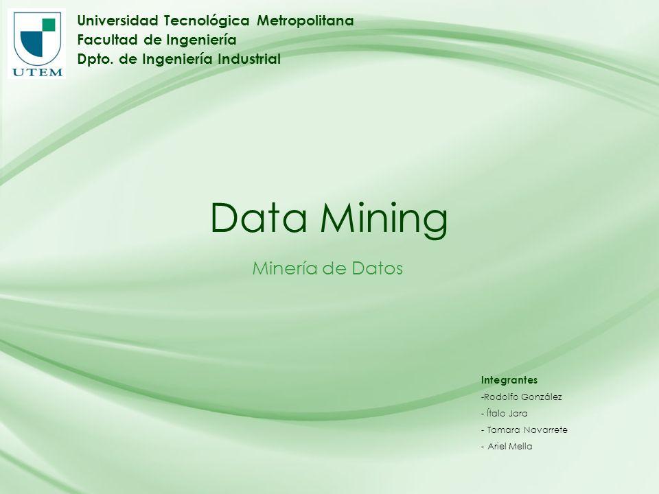 Data Mining Minería de Datos Universidad Tecnológica Metropolitana Facultad de Ingeniería Dpto. de Ingeniería Industrial Integrantes -Rodolfo González