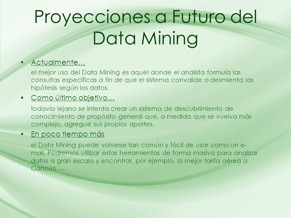 Proyecciones a Futuro del Data Mining Actualmente… el mejor uso del Data Mining es aquel donde el analista formula las consultas específicas a fin de