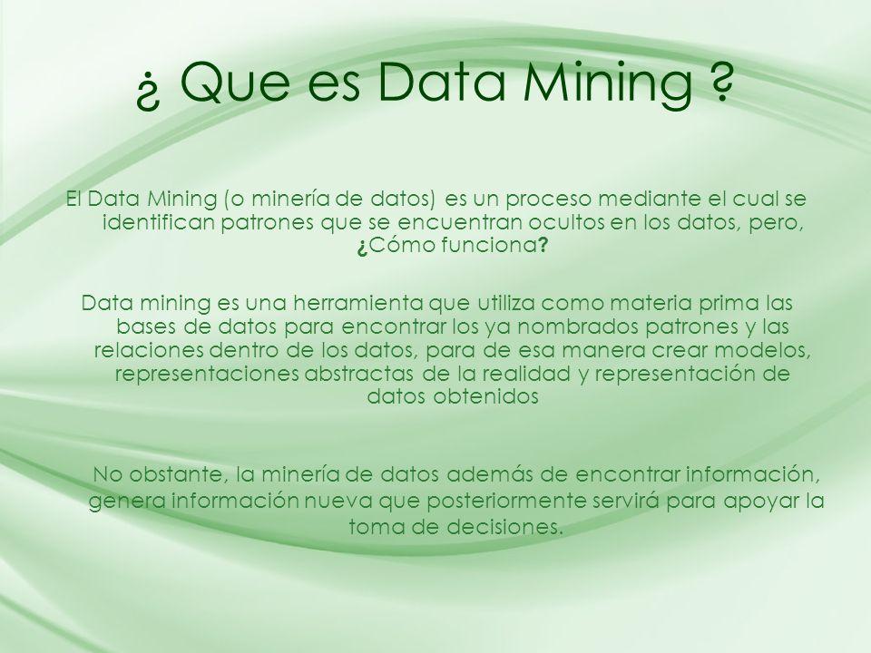 ¿ Que es Data Mining ? El Data Mining (o minería de datos) es un proceso mediante el cual se identifican patrones que se encuentran ocultos en los dat