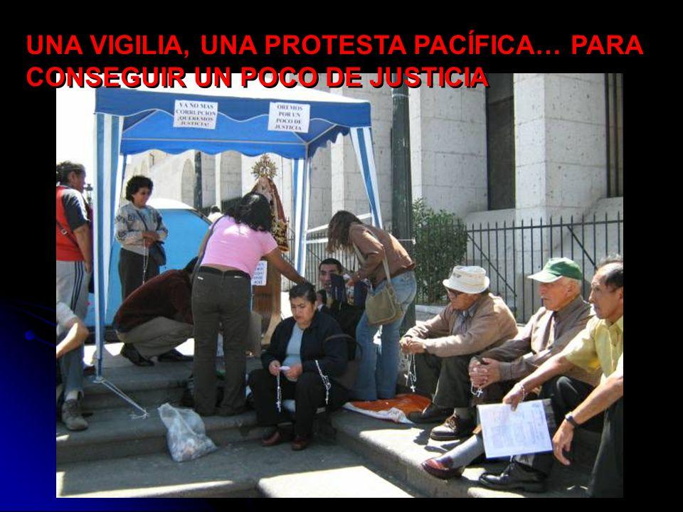 CORTE SUPERIOR DE INJUSTICIA DE AREQUIPA… PERO, QUE PASA CON LA PERSONA, QUE RECLAMA JUSTICIA DE MANERA DIFERENTE ANTE LA CORTE SUPERIOR DE INJUSTICIA DE AREQUIPA… pues esto El día Martes 18 de Septiembre del 2007, un joven abogado de 32 años inicia una huelga de hambre en la Plaza España, al costado de la Corte Superior de Justicia de Arequipa, al ser injustamente sentenciado e inhabilitado de ejercer la abogacía durante 3 años, por una supuesta falsificación de documentos, pues mas bien venganza por haber denunciado a 17 Magistrados corruptos y por una denuncia penal contra del Presidente de la Corte Superior de Justicia de la Ciudad de Arequipa el Dr.