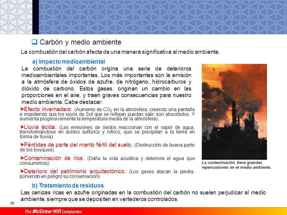 9 Nuevas tecnologías aplicadas a centrales térmicas Debido a que la quema del carbón provoca grandes contaminaciones al medio ambiente, se están impla