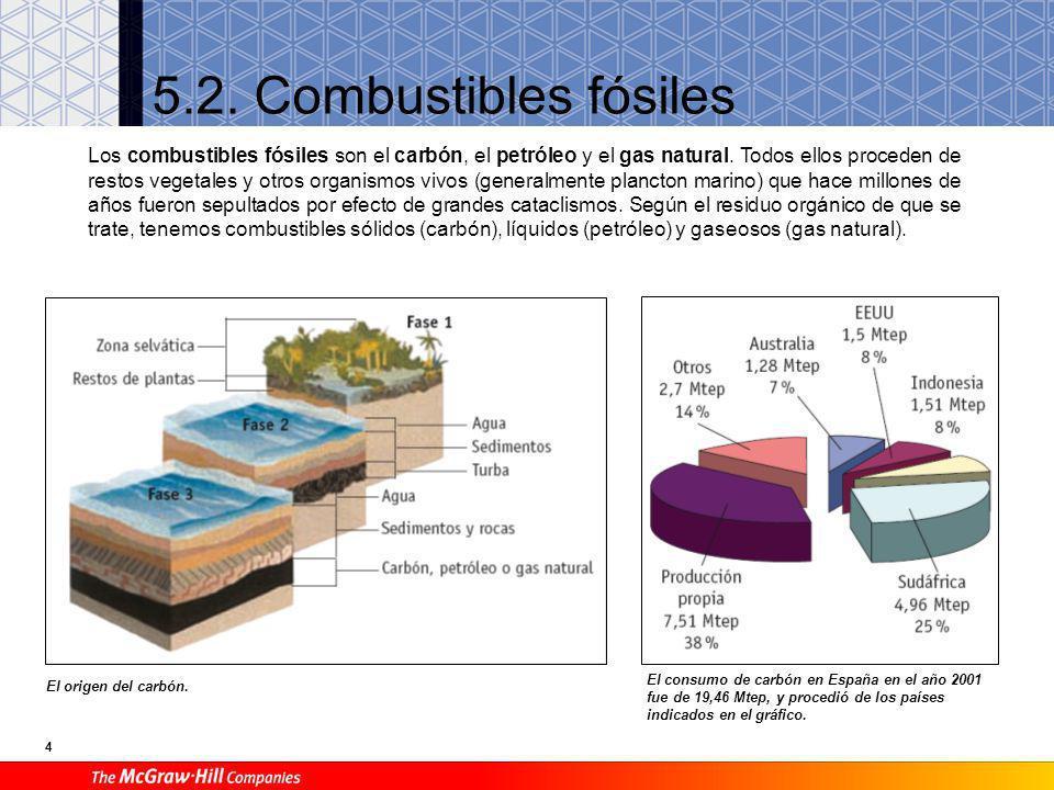 4 5.2.Combustibles fósiles El origen del carbón.