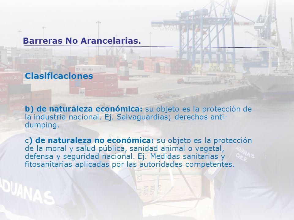 Clasificaciones b) de naturaleza económica: su objeto es la protección de la industria nacional. Ej. Salvaguardias; derechos anti- dumping. c) de natu