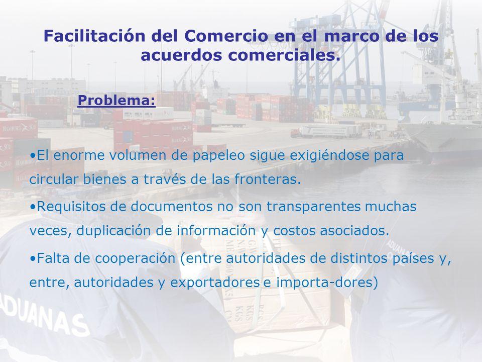 Facilitación del Comercio en el marco de los acuerdos comerciales. Problema: El enorme volumen de papeleo sigue exigiéndose para circular bienes a tra