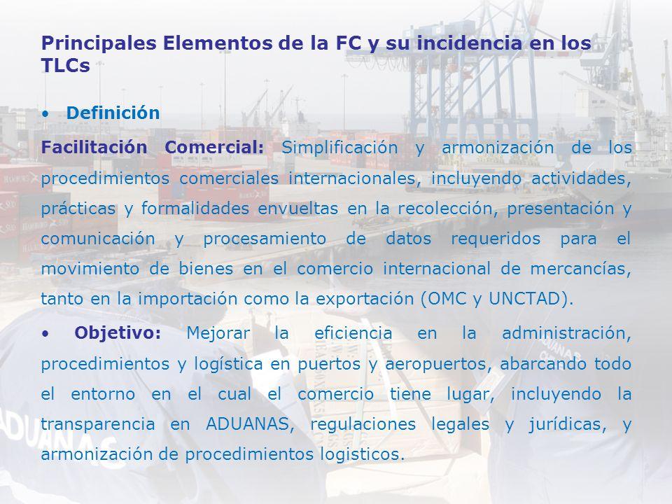 Principales Elementos de la FC y su incidencia en los TLCs Definición Facilitación Comercial: Simplificación y armonización de los procedimientos come