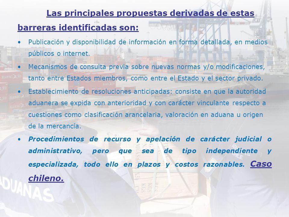 Las principales propuestas derivadas de estas barreras identificadas son: Publicación y disponibilidad de información en forma detallada, en medios pú