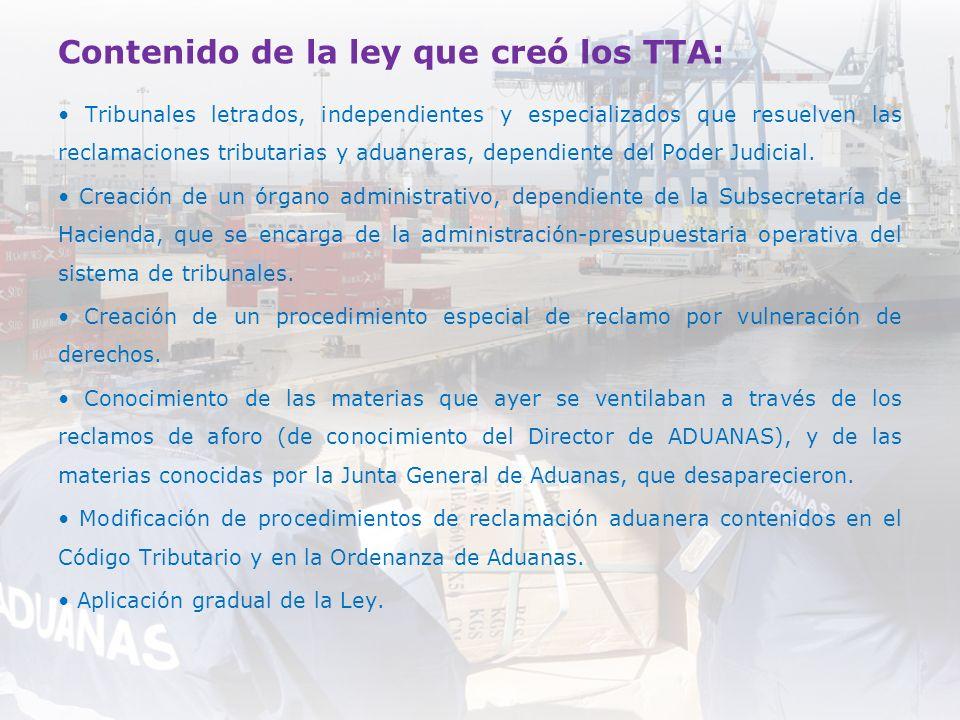 Contenido de la ley que creó los TTA: Tribunales letrados, independientes y especializados que resuelven las reclamaciones tributarias y aduaneras, de