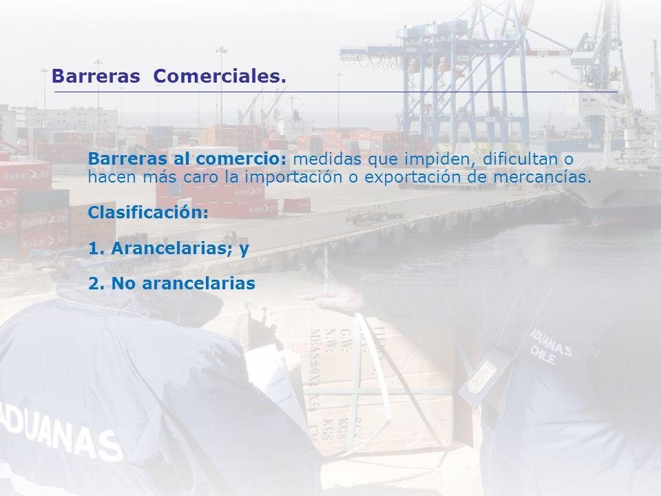 Barreras al comercio: medidas que impiden, dificultan o hacen más caro la importación o exportación de mercancías. Clasificación: 1. Arancelarias; y 2