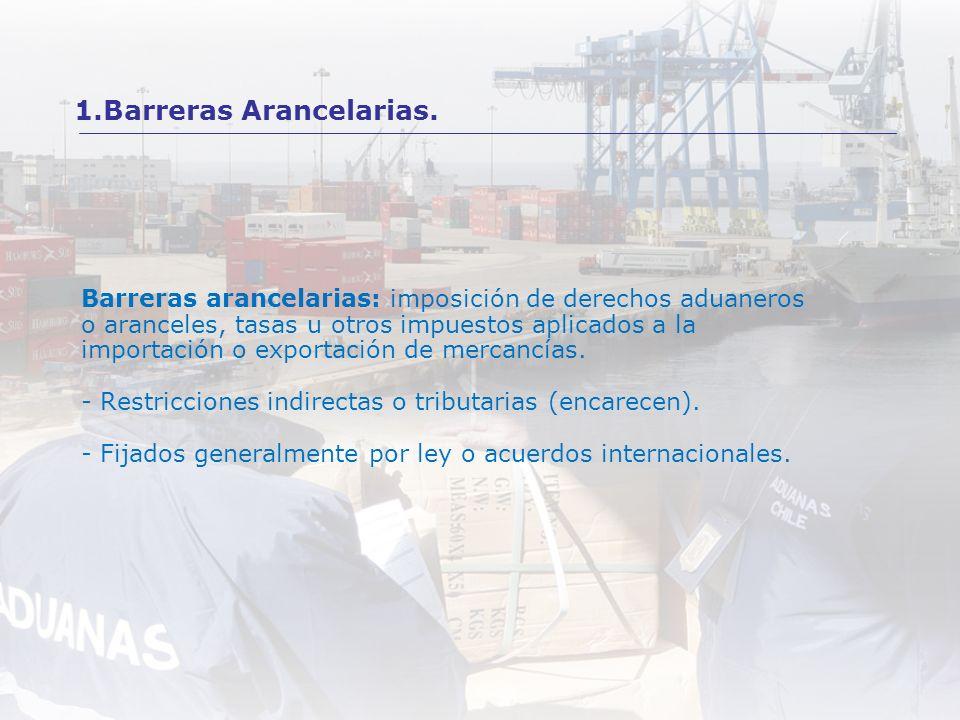 Barreras arancelarias: imposición de derechos aduaneros o aranceles, tasas u otros impuestos aplicados a la importación o exportación de mercancías. -