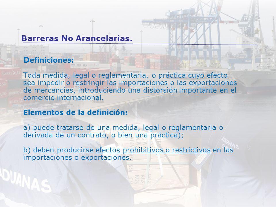 D efiniciones: Toda medida, legal o reglamentaria, o práctica cuyo efecto sea impedir o restringir las importaciones o las exportaciones de mercancías